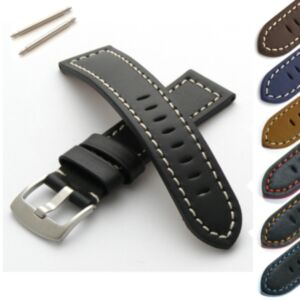 Calf Leather Watch Strap with Brushed Steel Buckle