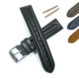 Calf Leather Watch Strap with Double Ridge