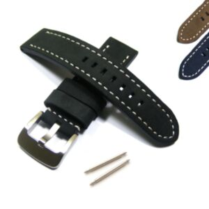 Thick Leather Pilot Watch Strap with Heavy Buckle