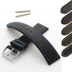 Calf Leather Watch Strap with Coloured Stitching