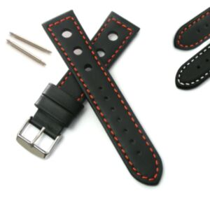 Calf Leather Strap with Perforation and Contrast Stitch
