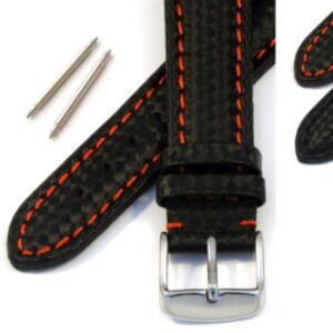 Calf Leather Watch Strap with Carbon Fibre Effect
