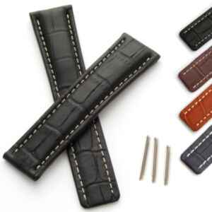Leather Watch Strap in Alligator Grain for Breitling Deployment Clasp