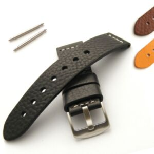 Calf Leather Watch Strap with Brushed Steel Buckle M or XL