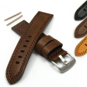 Calf Leather Watch Strap with Waterproofed Upper